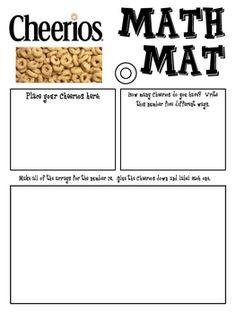 Math Mat Review Activity:  Cheerios Cereal
