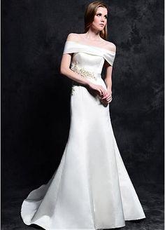 Elegant Satin Off-the-shoulder Neckline Natural Waistline Mermaid Wedding Dress With Beaded Lace Appliques
