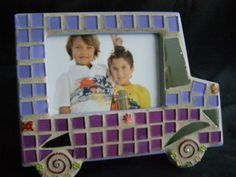 3 1/2 x 5 Purple and Lavendar Mosaic Car Frame by breakitupdesigns, $28.00
