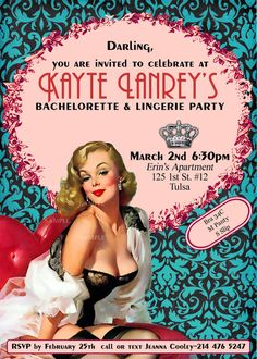 Vintage Pin Up Girl  Invitation- Bachelorette party, Hens night, Lingerie Shower Birthday invite diy print file printed optional