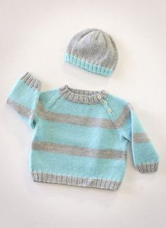 Baby Knitting Patterns Jumper baby sweater and hat knitting patterns, I like these colors! Baby Boy Knitting Patterns, Baby Sweater Patterns, Knit Baby Sweaters, Knitting For Kids, Baby Patterns, Knit Patterns, Free Knitting, Knitting Projects, Knitted Baby Clothes