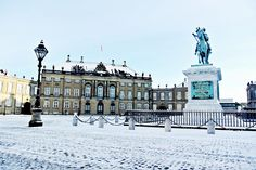The Courtyard of Amalienborg Palace with a light dusting of snow, photographed on December 29th 2014, with a view of Frederik VIII's Palace.