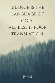 Sessizlik Tanrı'nın dilidir. Kalan her şey kötü bir çeviridir. Mevlana.