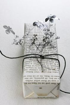 Gift wrap using old newspaper.