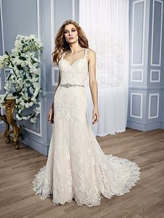 Moonlight Couture H1315 On Trend Lace Wedding Dresses And Beaded Bridal