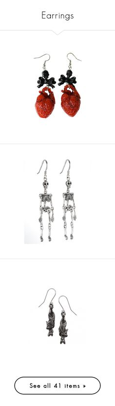 """Earrings"" by gabbyortega ❤ liked on Polyvore featuring jewelry, earrings, heart earrings, red jewellery, earring jewelry, heart-shaped jewelry, red earrings, skeleton jewelry, skeleton earrings and gothic jewellery"