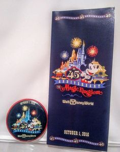 DISNEY MAGIC KINGDOM 45TH ANNIVERSARY MAP WITH FOLD OUT POSTER AND BUTTON