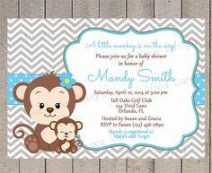 Monkey Boy Baby Shower Invitation  Mom and by VividLaneDesigns