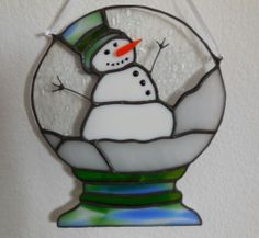 Handmade Christmas Snow Globe Snowman Stained Glass Suncatcher   eBay
