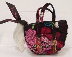 Vera Bradley Key Chain Coin Purse MOD Pink n Brown Floral Mini Bag SB0092 #VeraBradley