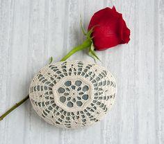 crochet lace stone // light beige cream // turquoise beach rock // cottage chic // Wedding decor // ring bearer pillow via Etsy
