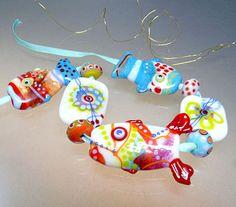 Artist Glass Lampwork Bead   Rainbow Fishes  von manuelawutschke