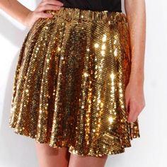 Nasty Gal Dresses & Skirts - gold sequin skater skirt on Poshmark