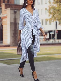 Shop Striped Tied Front Dip Hem Shirt – Discover sexy women fashion at IVRoseImprove your outfits by using a touch of fashion and ease with the use of blouses.Look up an acceptable & versatile collection of ladylike ladies blouses. Trend Fashion, Hijab Fashion, Fashion Dresses, Fashion Shirts, Nice Dresses, Casual Dresses, Blouse Outfit, Mode Hijab, Latest Outfits