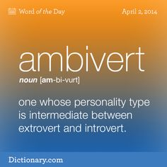 Dictionary.com's Word of the Day - ambivert - one whose personality type is intermediate between extrovert and introvert.