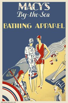 Art Deco poster advertising Macy's latest swimsuit offerings circa 1928, artist unknown.