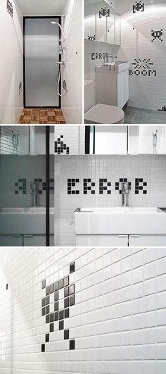 Geek style! Space invaders bathroom from Design Milk
