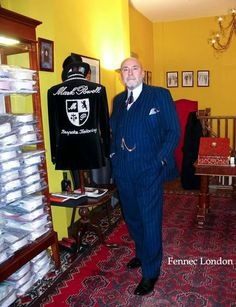 If you're in Soho, a visit to see dapperest and yet the most rock'n'roll bespoke taylor in town in a must! Mr Mark Powell has dressed some of the most handsome men in town for over 40 years. Mark wears a suit and #silk #pocketsquare of his own making, teamed with an antique watch chain. 'There's a million ways to style a pocketsquare, I often go for a puff' #dapper #taylor #fashion #styleblogger #style #tailoring #menstyle #menswear #gentleman #dandy #soho #london