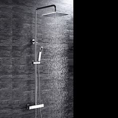 HPB™++Contemporary+Chrome+Brass+Thermostatic+Shower+Faucet+with+Air+Injection+Technology+Shower+Head+–+USD+$+288.89