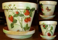 Handmade decoupage flower pot with strawberries