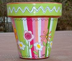 Hand Painted Terracotta Pot 4 Inch Sherbet by ThePaintedPine, $18.00