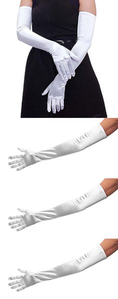 """22"""" Classic Adult Size Long Opera Length Satin Gloves White"""