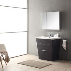 "Fresca Milano 32"" Chestnut Modern Bathroom Vanity w/ Medicine Cabinet"