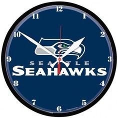 Seattle Seahawks Wall Clock is an Officially licensed wall clock. Great for any room. High quality quartz movement with a sweep second hand. Purchase Your Authentic NFL team clock From the Vintage Sign Shack. Seahawks Memes, Seahawks Gear, Seahawks Fans, Seahawks Football, Seattle Seahawks, Nfl Seattle, Chrome Wall Clock, Wall Clocks, Clock Template