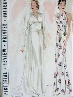 1930s ART DECO WEDDING DRESS BRIDAL EVENING GOWN PATTERN GORGEOUS STYLE,DRAPED BODICE, MIDRIFF WAIST BIAS CUT, TOTALLY GLAM PICTORIAL REVIEW PRINTED PATTERNS 9072 ah my granddaughter's style. She loves elegant!