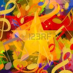 Bright music background with musical notes and big star Stock Photo