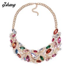 Fashion Women 2016 Blue Red Gem Necklaces Pendants Bijoux Collier Femme Collar Populare Choker Costume Maxi Jewelry Crystal