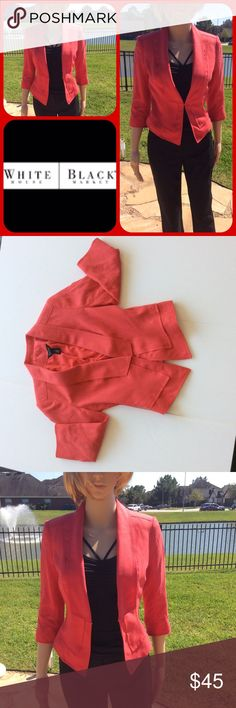WHBM tomato red moto jacket sz 0. Brings smiles! Lightweight tomato red moto jacket, fun to wear over tank top with sleeves rolled.sz 0, fits 0 and 2. Spreads happiness, wear on gloomy days and watch people get happy White House Black Market Jackets & Coats