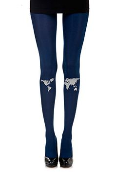 dc72d875b78cc Be a citizen of the world with these fantastic world map 120 denier blue  print tights. Featuring a high quality grey print of Greenland and the  Americas on ...