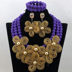 Luxury Purple Coral Beaded Nigerian African Costume Jewelry Set Gold Flower Wedding Jewelry Set Handmade Free Shipping QW511 #Affiliate