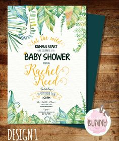 printable where the wild things are baby shower invitation by
