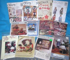 12 Holiday Sewing Patterns - Wreaths Vest Angels Scarecrow Santas Quilts Gifts