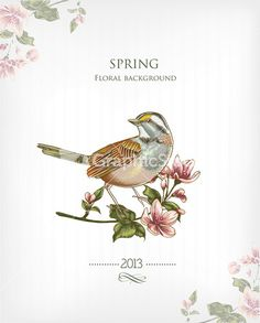 Floral Background Vector Illustration With Spring Flowers And Bird