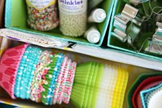 IHeart Organizing: Creating a Baking Drawer Household Organization, Kitchen Organization, Storage Organization, Cake Decorating Supplies, Baking Supplies, Closet Organizer With Drawers, Bakers Kitchen, Cake Craft, Childproofing