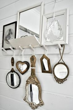 Love the idea of hand mirrors hanging or nailed to the wall near my vanity