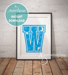 Blue Letter W, LETTER W Print, Letter W, Blue Nursery, Boys Letter W, Baby Boy Print, Gift for Baby Boy, Baby Shower, Blue Letter Monogram by AmberstoneDesign on Etsy Letter Monogram, Letter W, Penguin Drawing, Black And White Printer, Nursery Letters, Photo Store, Amber Stone, Typography Art, As You Like