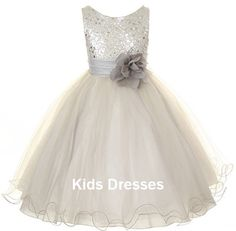 Flower Girl Dress Dusty Rose Sequin Double Sparkly by kidsdresses, $40.00 @Onika Gastelum  with a red flower?!