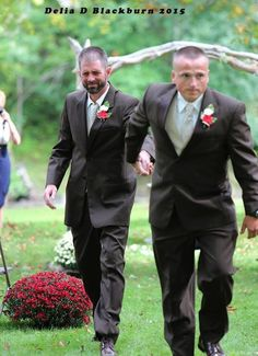 This bride's father stopped the wedding so her stepdad could walk her down the aisle too. | Delia D. Blackburn Photography