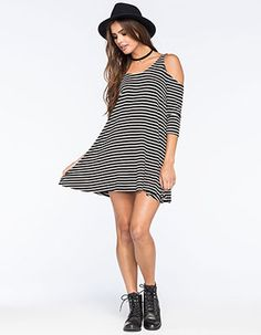 SOCIALITE Striped Cold Shoulder Dress