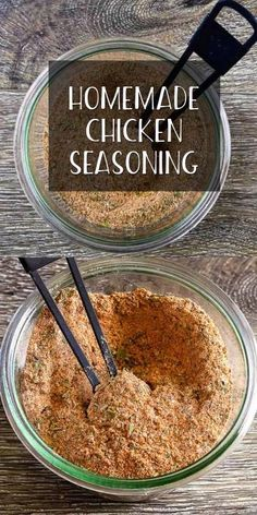 Made with spices and herbs from your pantry this easy chicken seasoning creates juicy tender meat bursting with flavor. If you are grilling baking or roasting chicken this seasoning is perfect for a whole chicken breasts thighs or wings! Homemade Dry Mixes, Homemade Spice Blends, Homemade Spices, Homemade Seasonings, Spice Mixes, Homemade Marinades For Chicken, Homemade Italian Seasoning, Roast Chicken Recipes, Baked Chicken Seasoning
