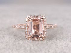 Rose Gold Morganite Halo Engagement Ring With Diamond 6x8mm Emerald Cut Claw Prongs Promise Band 14k/18k - BBBGEM