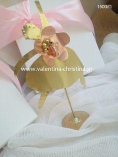 Μπομπονιέρα βάπτισης μεταλλική μπαλαρίνα