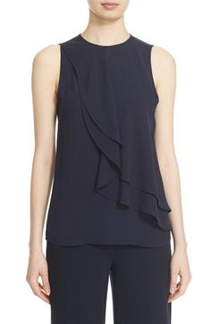 Reminder how simple is often the most profound! - Theory 'Elmali' Sleeveless Tiered Silk Georgette Top available attheory for women Office Outfits Women, Business Casual Outfits, Ladies Western Tops, Sleeves Designs For Dresses, Korean Girl Fashion, Couture Tops, Beautiful Blouses, Blouse Designs, Blouses For Women