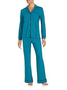 Cosabella Bella Heathered Pajama Set - Blue Curac - Size
