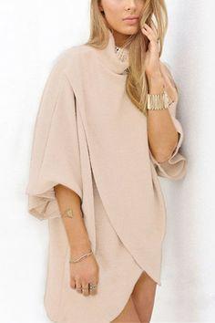 Khaki Fashion High Neck Irregular Hem Jumper - US$19.95 -YOINS