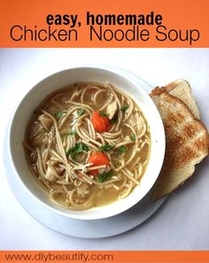 Homemade Chicken Noodle Soup made from a Rotisserie chicken (leftovers no less!). This meal is a great way to extend your dollars and feed your family a home-cooked meal. See how easy it is to make this soup at DIY beautify blog